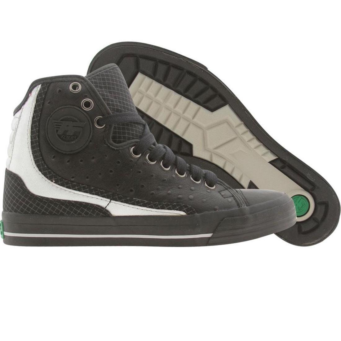 【海外限定】グライド 黒 ブラック 靴 スニーカー 【 BLACK PF FLYERS GLIDE OSTRICH SILVER 】