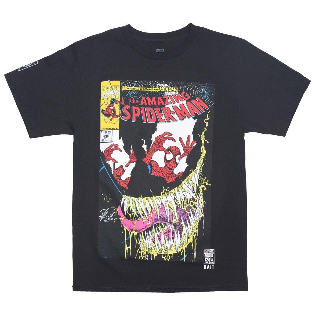 ベイト BAIT Tシャツ 黒 ブラック #346 【 BLACK BAIT X MARVEL MEN AMAZING SPIDERMAN TEE 】 メンズファッション トップス Tシャツ カットソー