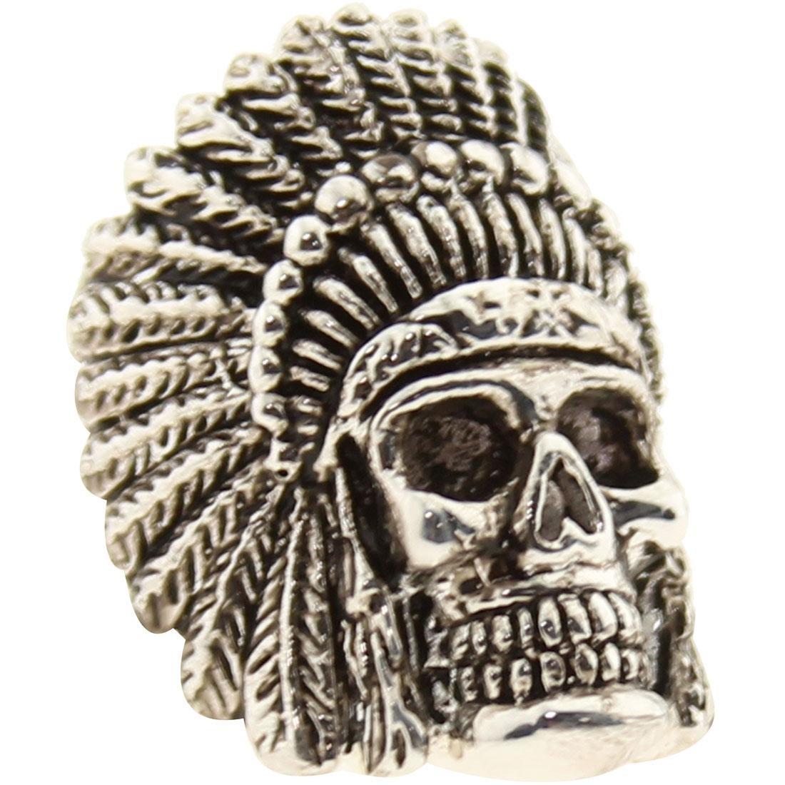 【スーパーセール中! 6/11深夜2時迄】チーフ 銀色 スチール メンズファッション トップス Tシャツ カットソー メンズ 【 Han Cholo Indian Chief Skull Ring (stainless Steel Silver) 】 Stainless Steel Silver
