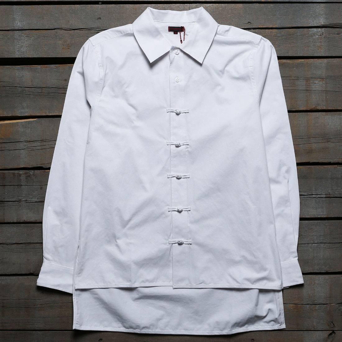 白 ホワイト 【 WHITE CLOT MEN CHINESE BUTTON UP SHIRT 】 メンズファッション トップス カジュアルシャツ