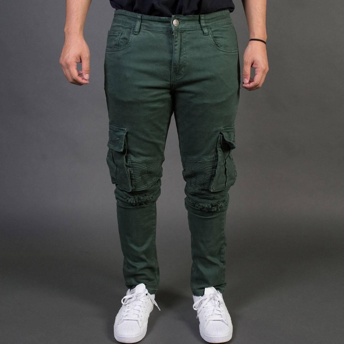 【海外限定】カーゴ ズボン メンズファッション 【 EMBELLISH NYC MEN LIAM CARGO BIKER JEANS GREEN ARMY 】