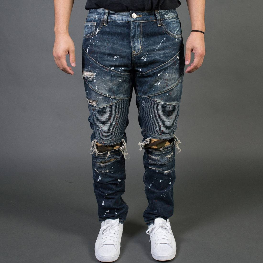 【 EMBELLISH NYC MEN BAD BIKER JEANS BLUE VINTAGE 】 メンズファッション ズボン パンツ 送料無料
