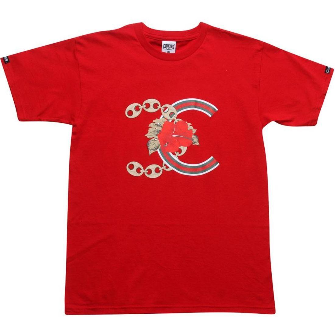 【海外限定】Tシャツ トップス カットソー 【 CROOKS AND CASTLES ALOHA FRIDAY TEE RED 】