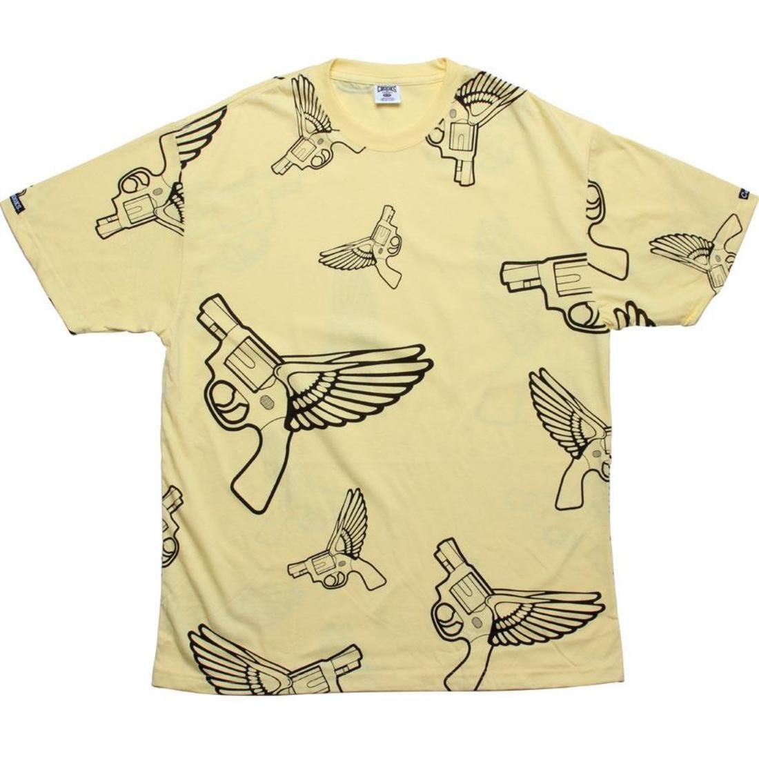 【海外限定】Tシャツ トップス カットソー 【 CROOKS AND CASTLES FLYING GUN TEE CANARY 】