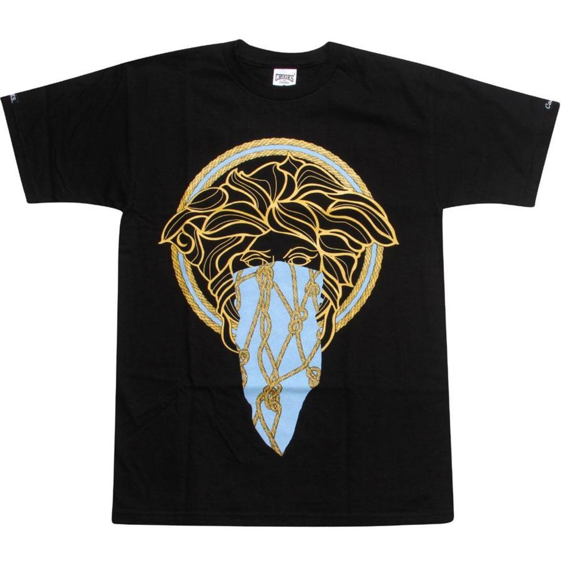 【海外限定】Tシャツ トップス カットソー 【 CROOKS AND CASTLES GORGON TEE BLACK GOLD BLUE 】