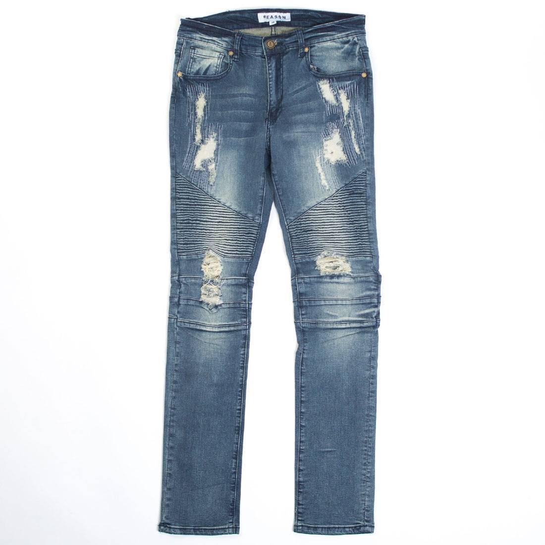 【海外限定】デニム ズボン メンズファッション 【 REASON MEN MULBERRY MOTO DENIM JEANS BLUE 】