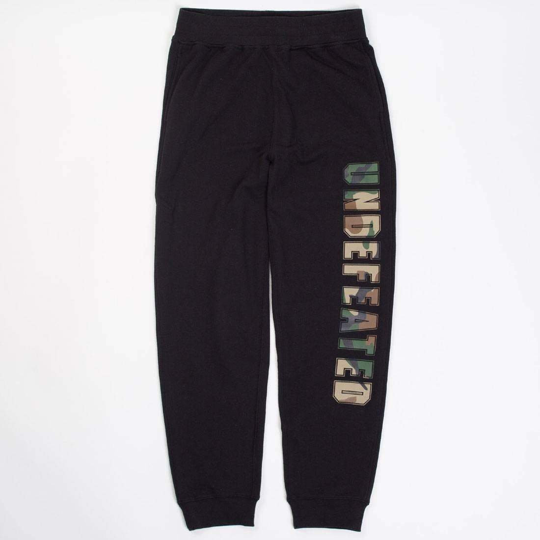 UNDEFEATED 黒 ブラック 【 BLACK UNDEFEATED MEN COMPACT SWEATPANTS 】 メンズファッション ズボン パンツ