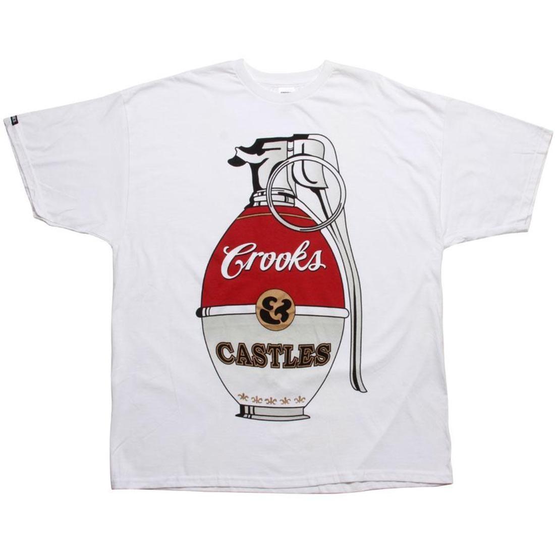 【海外限定】Tシャツ 赤 レッド カットソー 【 RED CROOKS AND CASTLES WAR HALLS GRENADE TEE WHITE GREY 】
