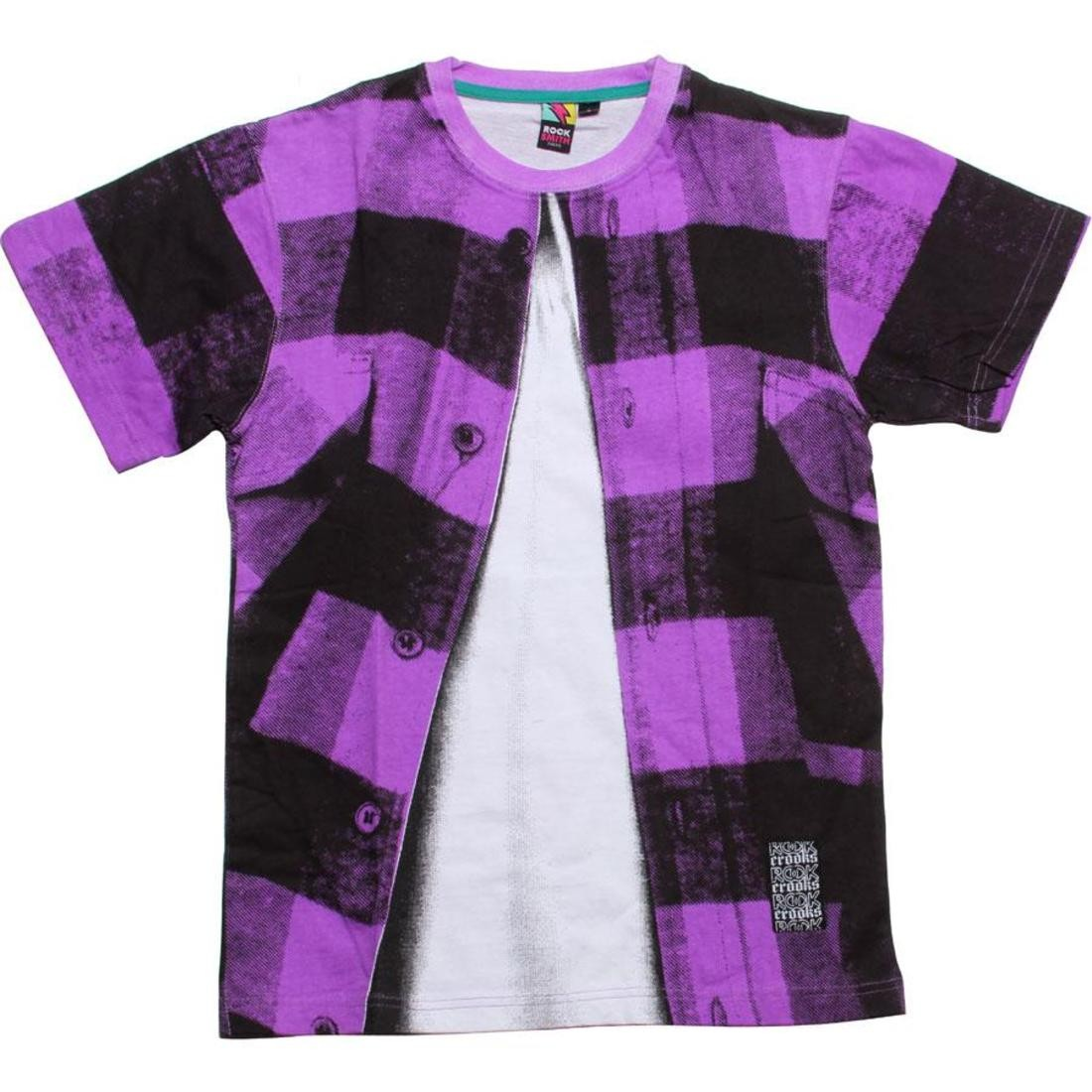 Tシャツ 【 ROCK SMITH X CROOKS AND CASTLES LUMBERJACK TEE PURPLE 】 メンズファッション トップス カットソー