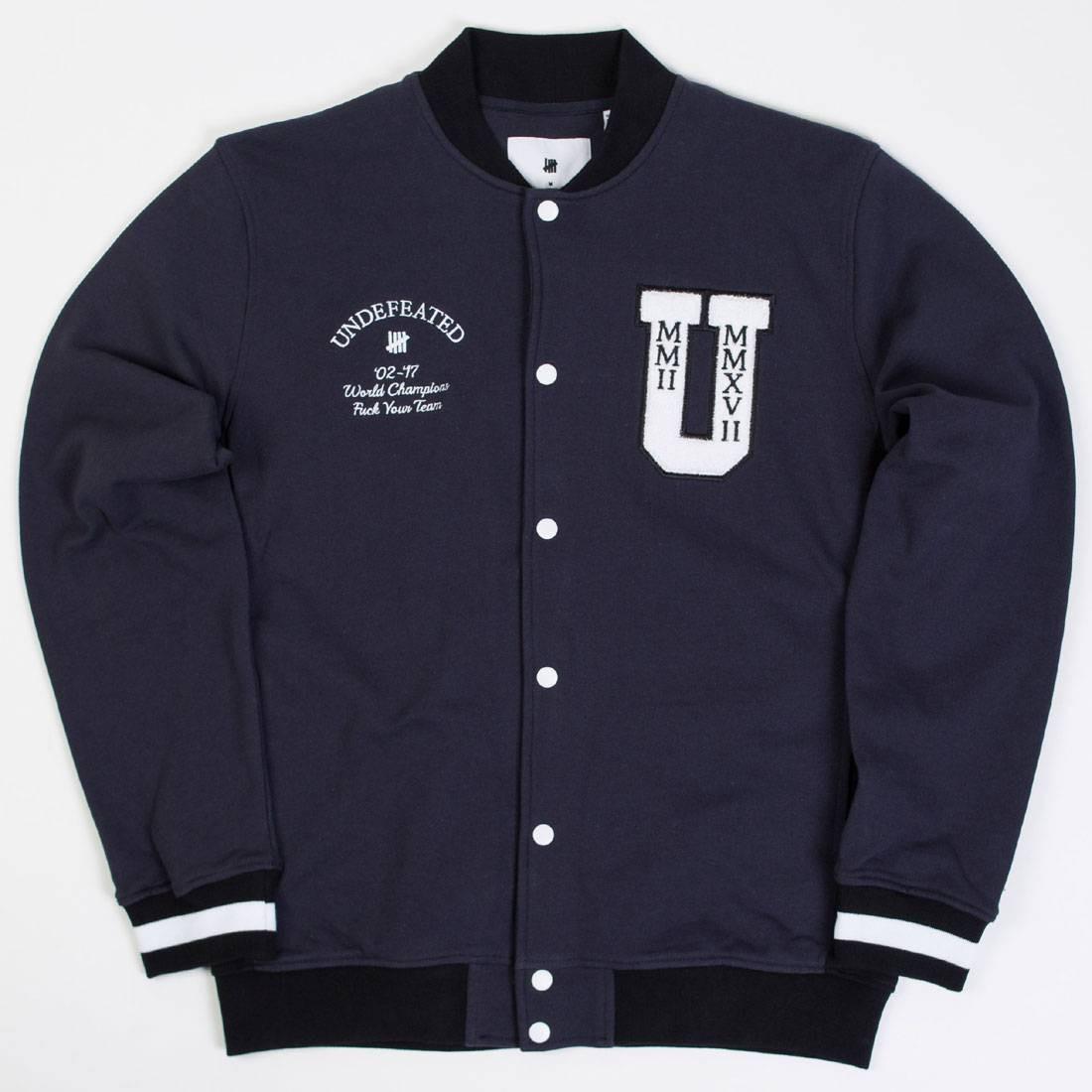 UNDEFEATED フリース メンズファッション コート ジャケット メンズ 【 Men Fleece Varsity Jacket (navy) 】 Navy