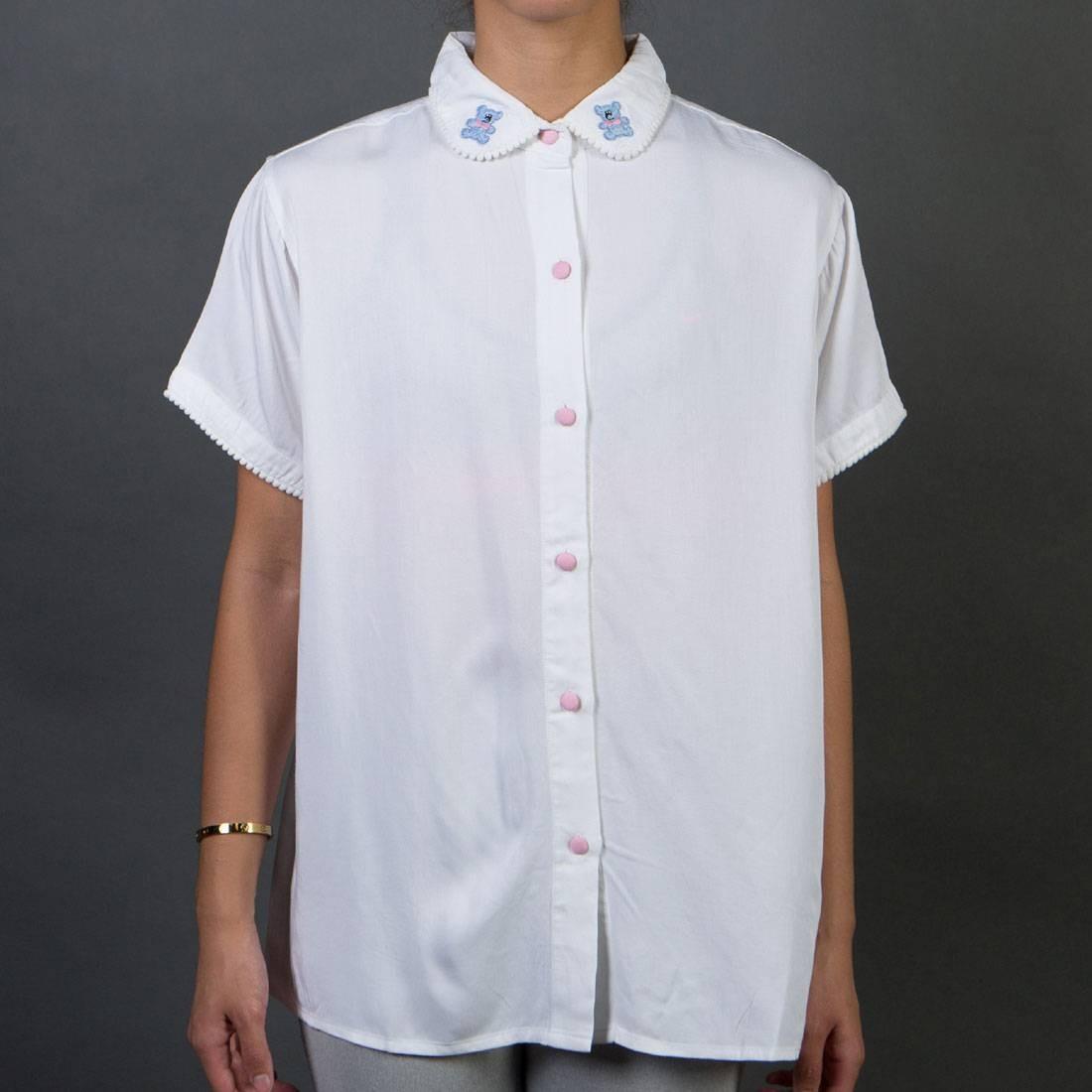 【 LAZY OAF WOMEN POM BEAR SHIRT WHITE 】 メンズファッション トップス カジュアルシャツ 送料無料