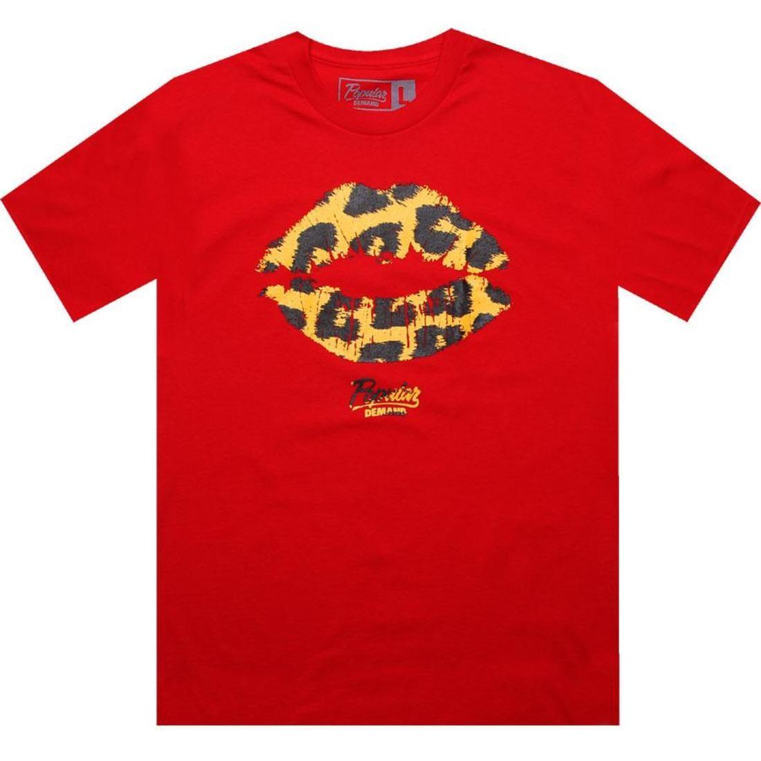 Tシャツ 赤 レッド 【 RED POPULAR DEMAND CHEETAH KISS TEE 】 メンズファッション トップス Tシャツ カットソー