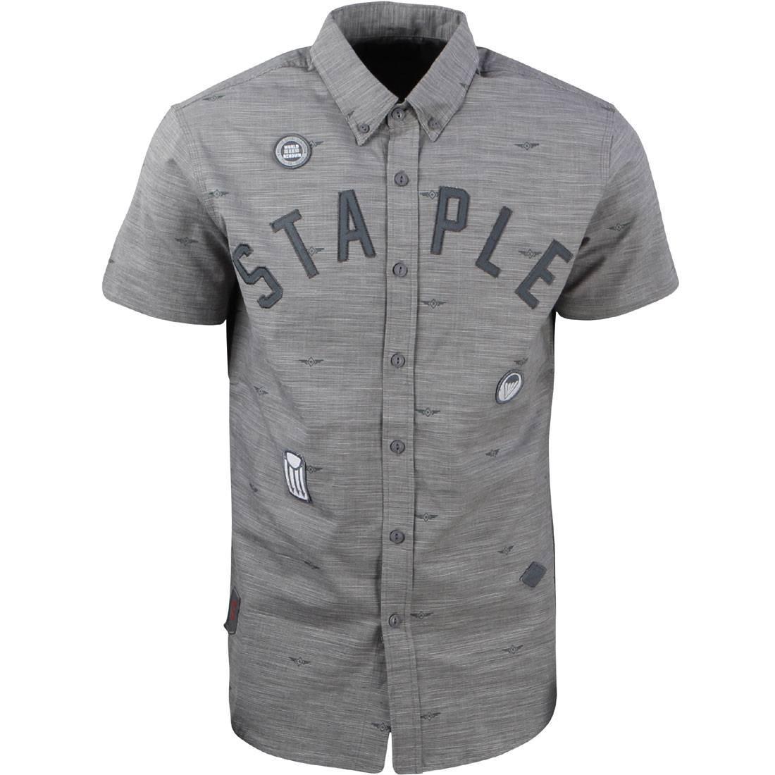 【海外限定】ウーブン カジュアルシャツ メンズファッション 【 WOVEN STAPLE MEN DEBRIS PATCH SHIRT GRAY 】【送料無料】
