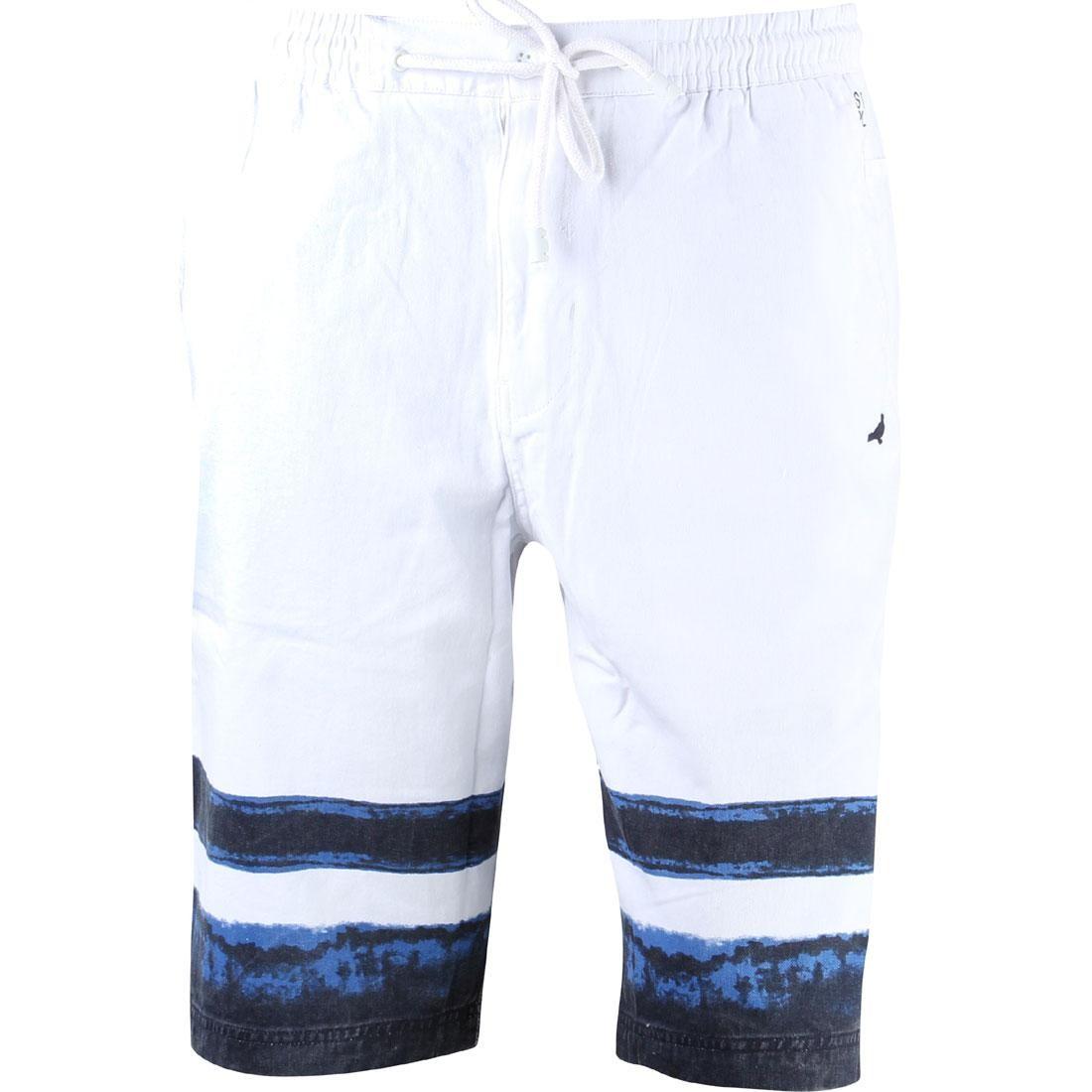 藍色 インディゴ ストライプ ショーツ ハーフパンツ メンズファッション ズボン パンツ メンズ 【 Staple Men Indigo Stripe Shorts (white) 】 White
