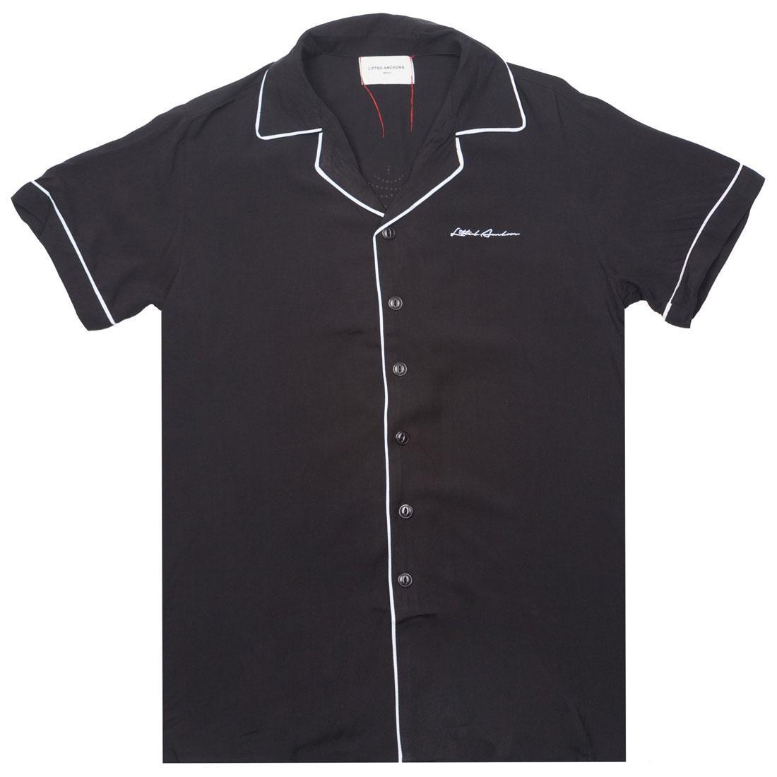 黒 ブラック 【 BLACK LIFTED ANCHORS MEN TYBALT BUTTON UP 】 メンズファッション トップス カジュアルシャツ