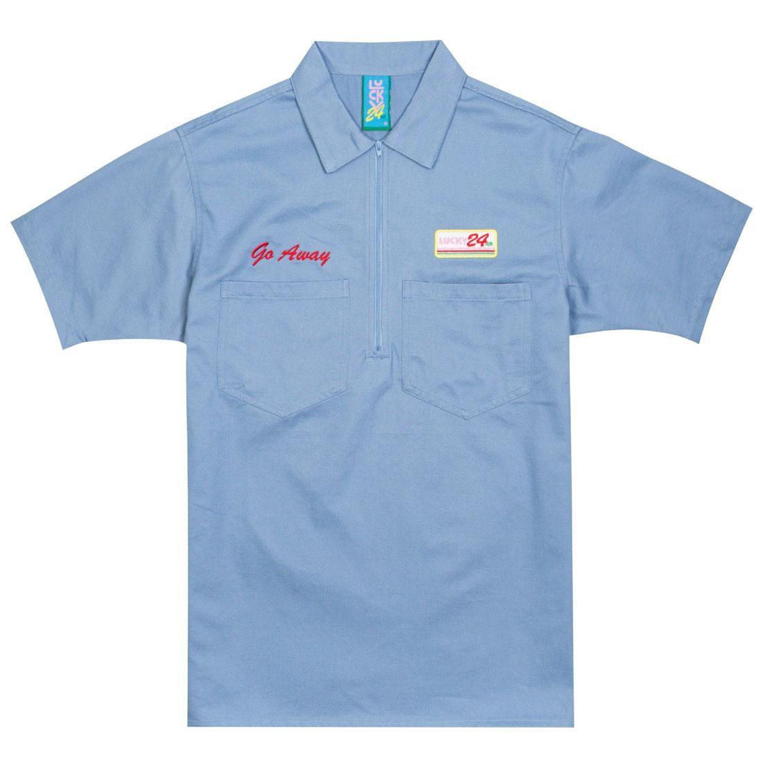 【海外限定】ハーフ カジュアルシャツ メンズファッション 【 LAZY OAF X SAILEY MEN HALF ZIP SHIRT BLUE 】【送料無料】