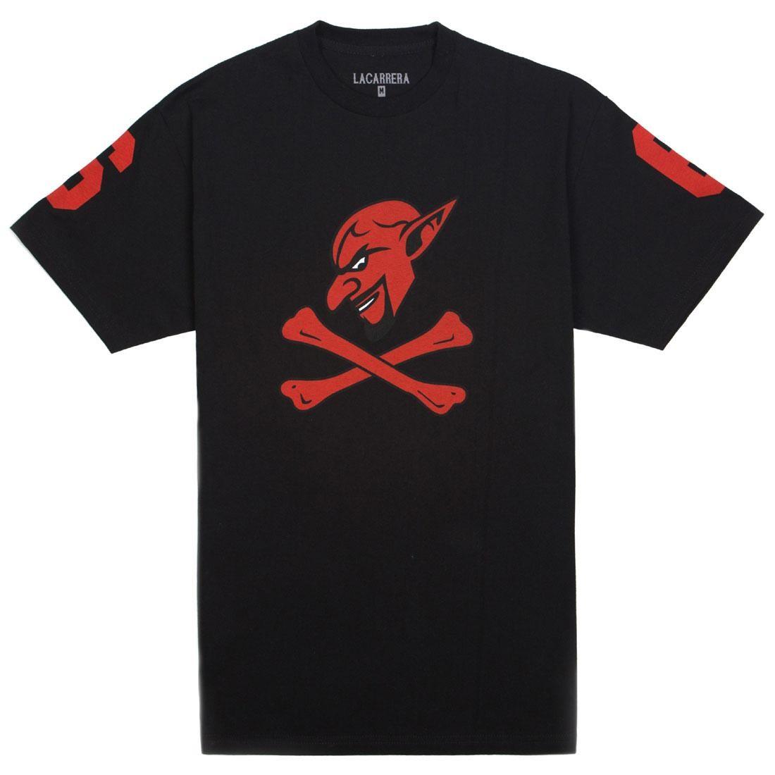 チーム エンジェルス Tシャツ 黒 ブラック 赤 レッド 【 TEAM ANGELS BLACK RED LA CARRERA MEN FALLEN TEE 】 メンズファッション トップス Tシャツ カットソー