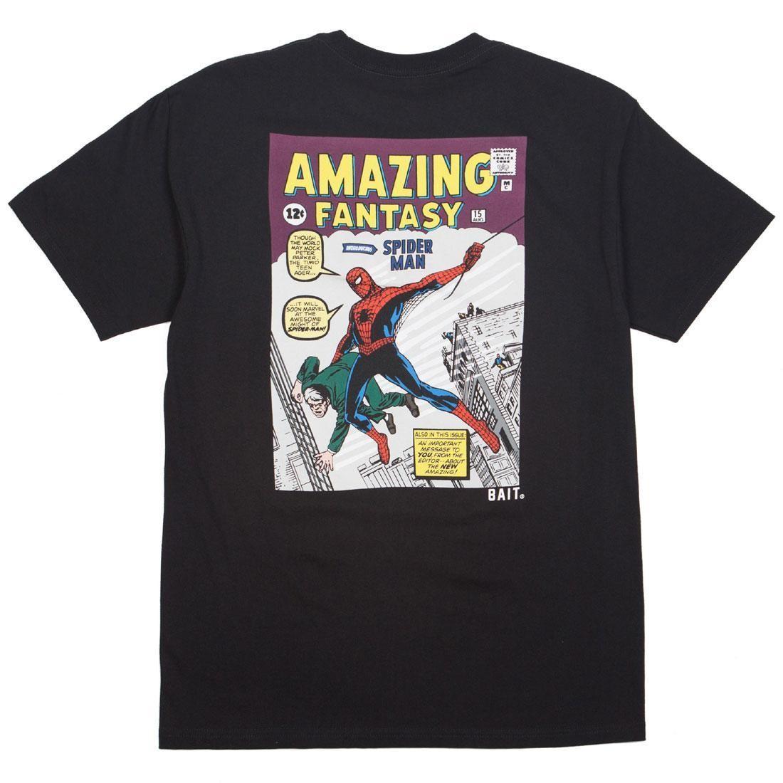 ベイト BAIT コミックス Tシャツ 黒 ブラック 【 BLACK BAIT X MARVEL COMICS MEN AMAZING SPIDERMAN TEE 】 メンズファッション トップス Tシャツ カットソー