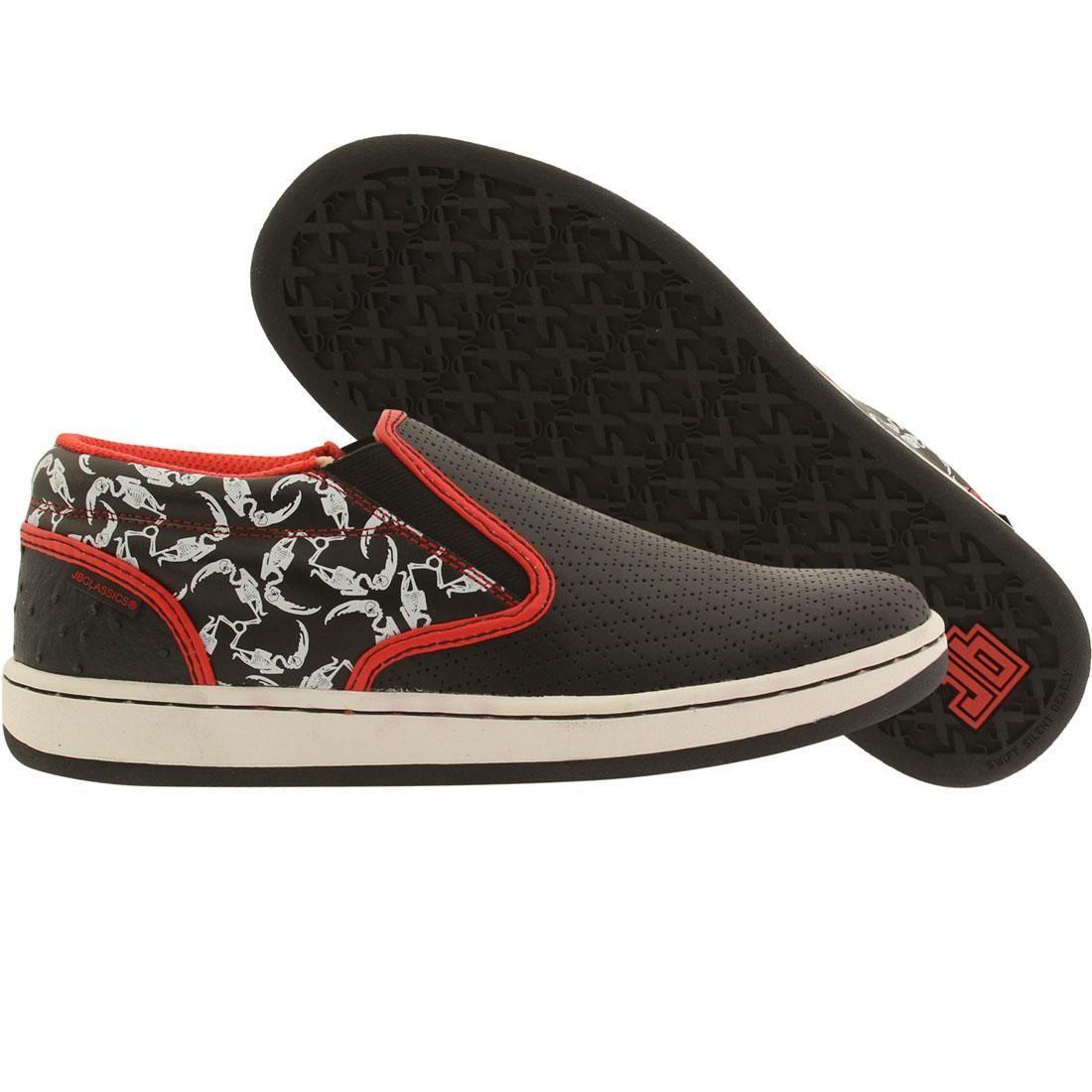 【海外限定】赤 レッド スニーカー 靴 【 RED JB CLASSICS MALTA SLIP CRESCENT BONES BLACK WHITE 】