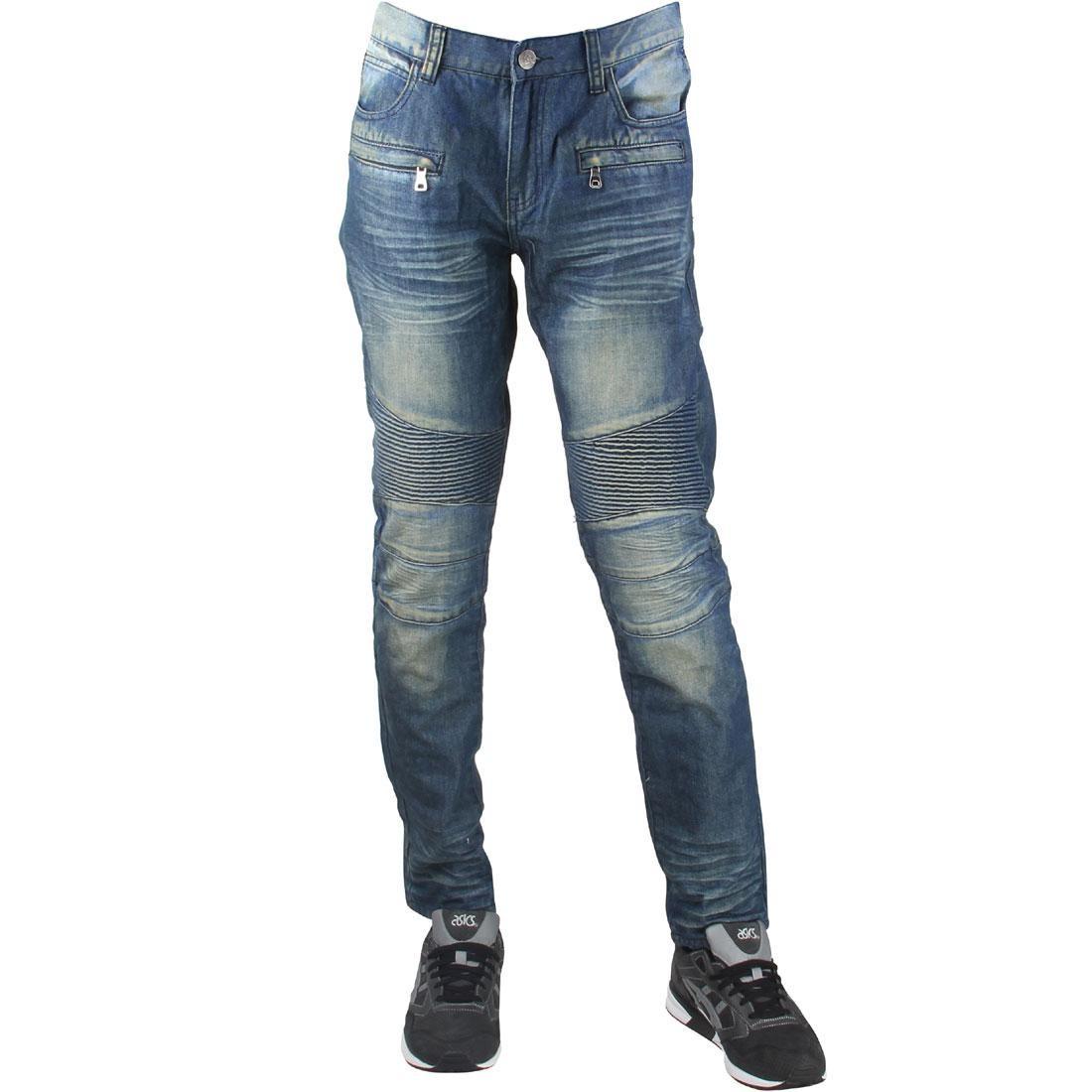 デニム 青 ブルー 【 BLUE EMBELLISH NYC MEN SPUR BIKER DENIM JEANS STONE WASH 】 メンズファッション ズボン パンツ