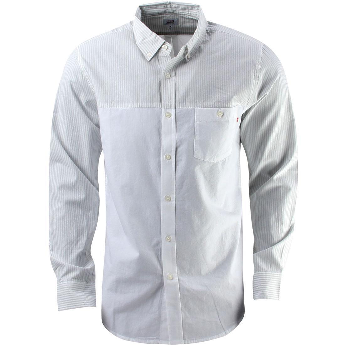 【海外限定】ウーブン カジュアルシャツ メンズファッション 【 WOVEN OBEY BOND DISSENT SHIRT WHITE 】