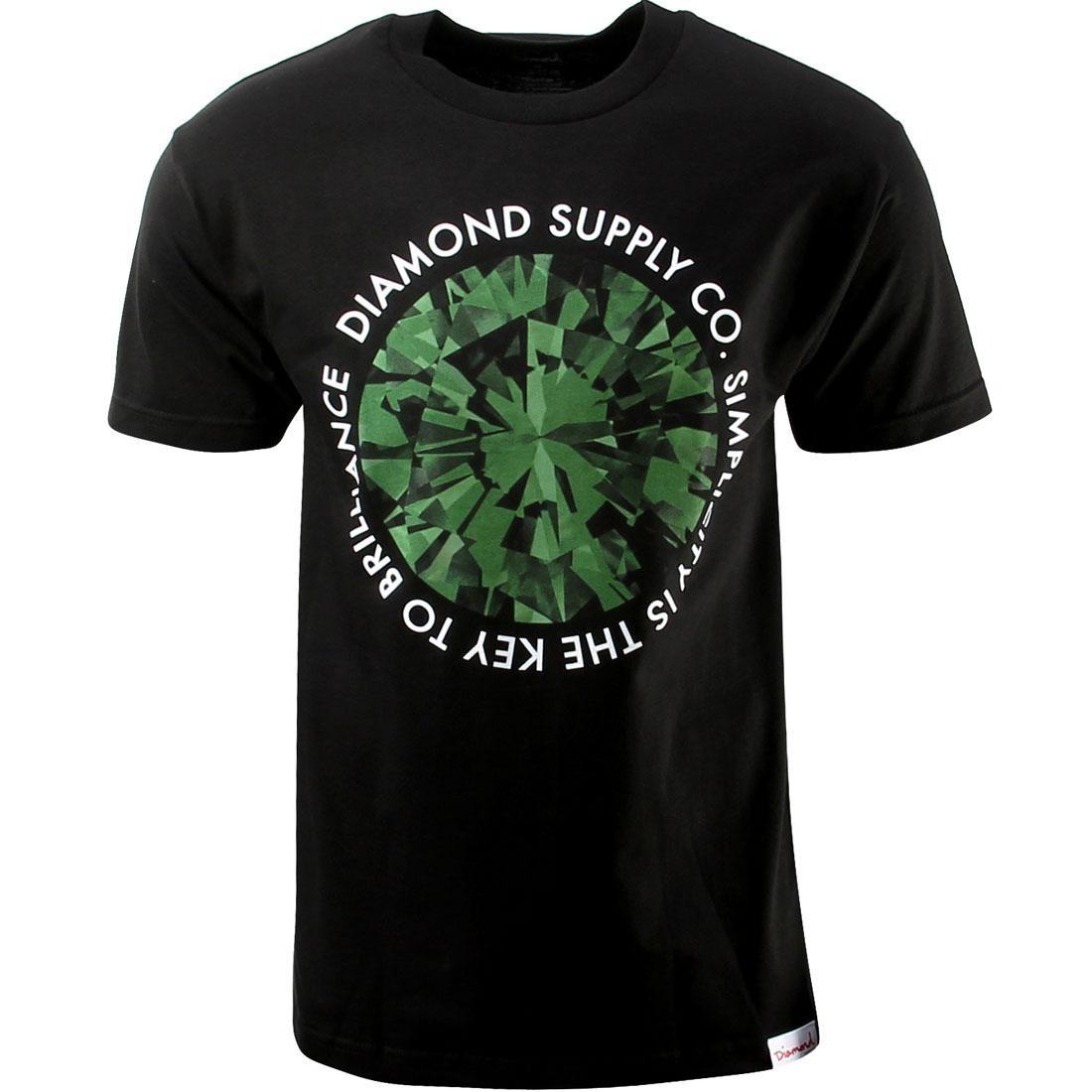 ダイヤモンドサプライ DIAMOND SUPPLY CO ダイヤモンド サプライ Tシャツ 黒 ブラック 緑 グリーン 【 SUPPLY BLACK GREEN DIAMOND CO SIMPLICITY TEE 】 メンズファッション トップス Tシャツ カットソー