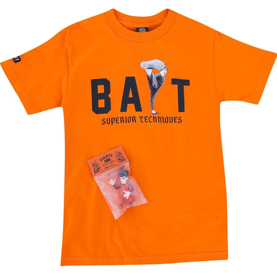 【海外限定】ジャイアンツ ハイ キック Tシャツ トップス メンズファッション 【 BAIT X SAN FRANCISCO GIANTS BRUCE LEE BUNDLE HIGH KICK TEE ORANGE BLACK 】