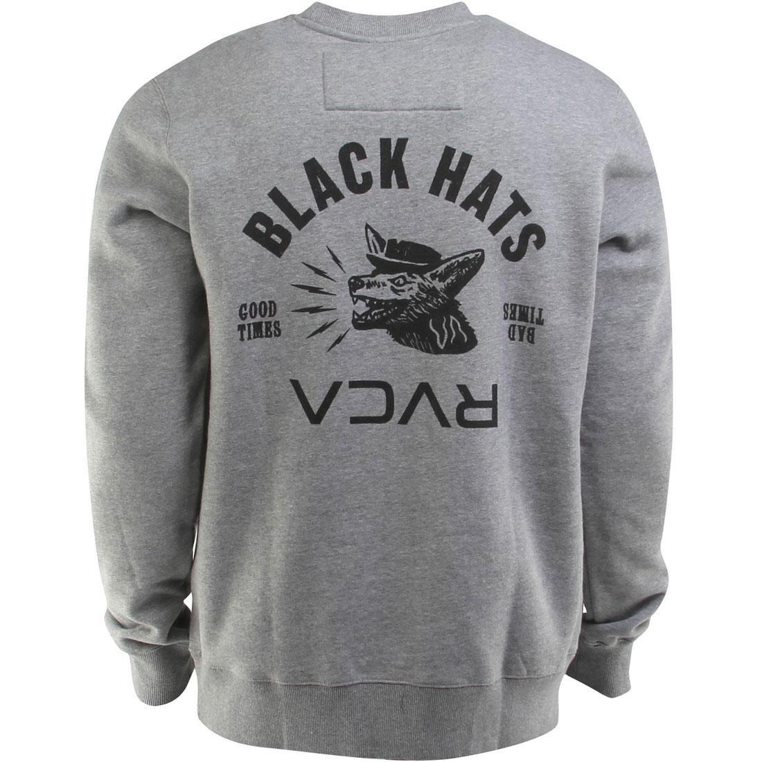 RVCA 黒 ブラック メンズファッション トップス Tシャツ カットソー メンズ 【 Black Hats Crewneck (gray / Athletic Heather) 】 Gray / Athletic Heather