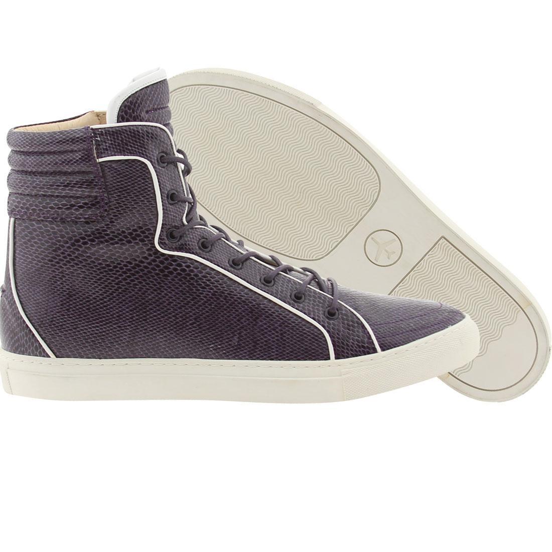 【海外限定】ディープ 紫 パープル 靴 メンズ靴 【 PURPLE PASSPORT MIKI DEEP SNAKE WHITE 】