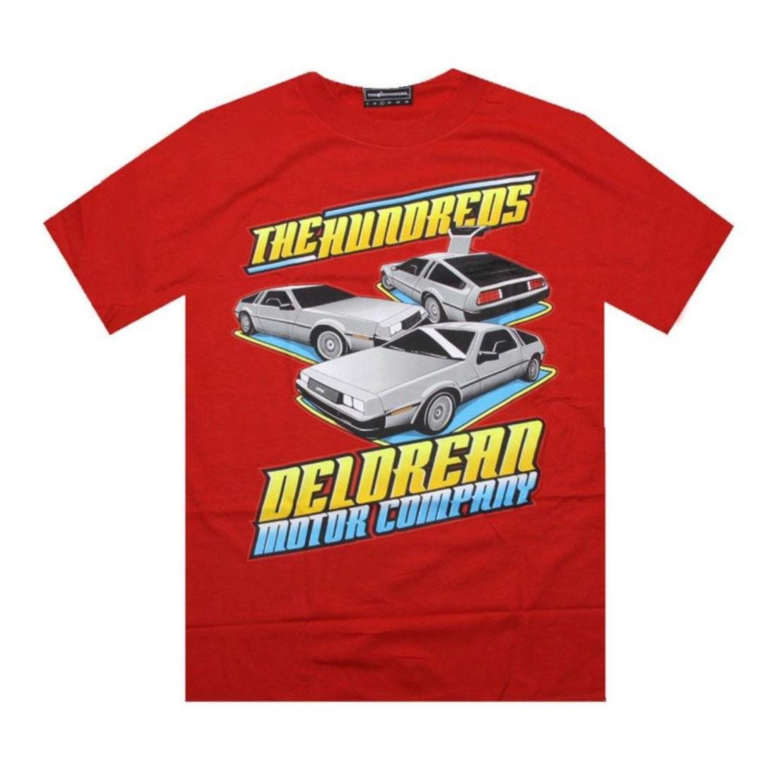 Tシャツ 赤 レッド 【 RED THE HUNDREDS DELOREAN MOTOR COMPANY DMC CAR SHOW TEE 】 メンズファッション トップス Tシャツ カットソー