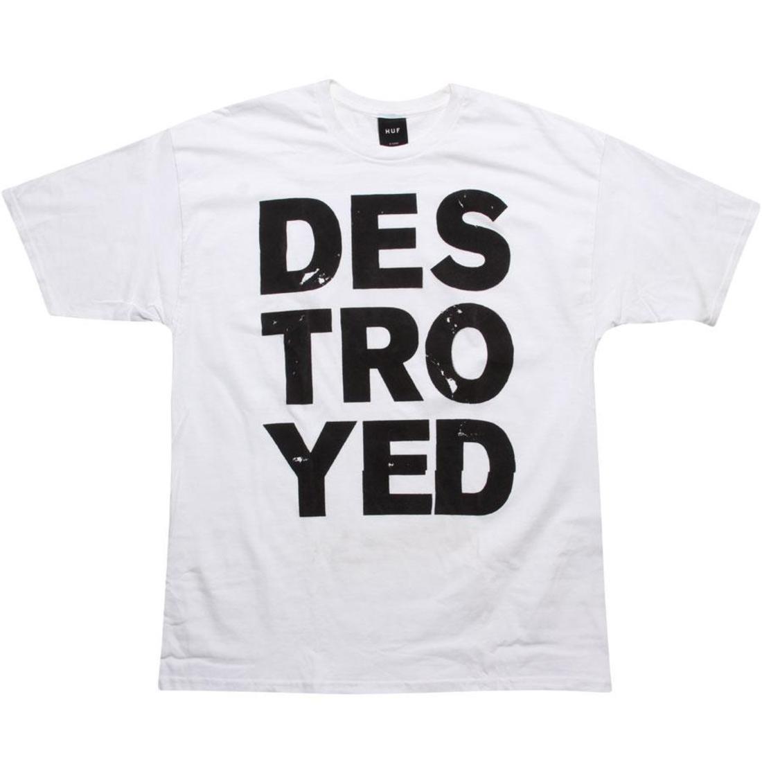 ハフ Tシャツ 白 ホワイト 【 HUF WHITE DESTROYED TEE 】 メンズファッション トップス Tシャツ カットソー