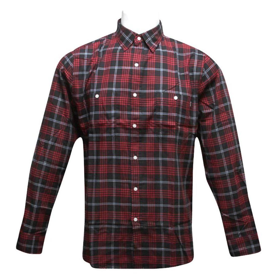 【海外限定】ハフ ボックス ストライプ カジュアルシャツ メンズファッション 【 HUF STRIPE BOX SHIRT BLACK RED 】
