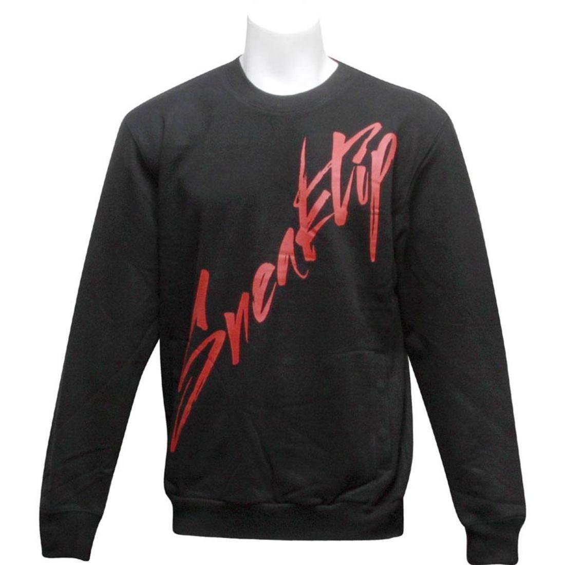 SNEAKTIP スニークティップ ロゴ 黒 ブラック 【 BLACK SNEAKTIP HAND WRITE LOGO CREW NECK 】 メンズファッション トップス スウェット トレーナー