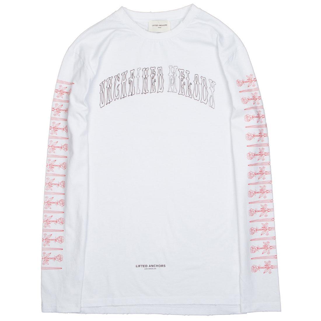 スリーブ Tシャツ 白 ホワイト 【 SLEEVE WHITE LIFTED ANCHORS MEN RIGHTEOUS LONG TEE 】 メンズファッション トップス Tシャツ カットソー