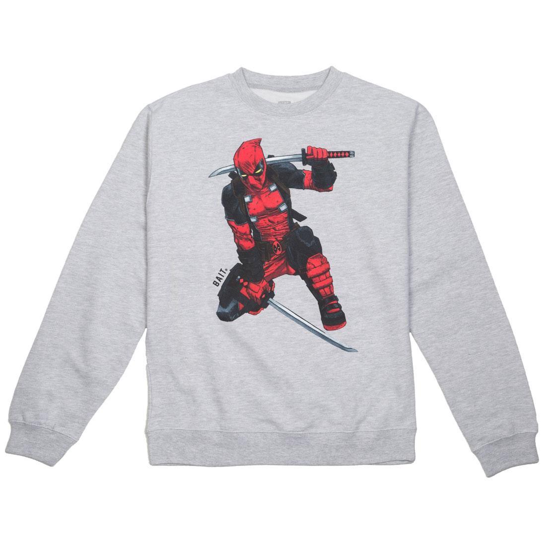 【海外限定】Tシャツ CREWNECK メンズファッション【 DEADPOOL BAIT X MARVEL MEN DEADPOOL X TWO SWORDS CREWNECK SWEATER GRAY HEATHER】, 小樽市:1598ebf9 --- officewill.xsrv.jp