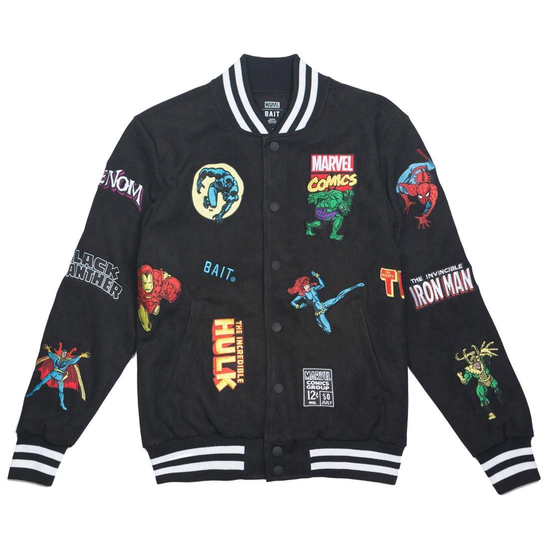 ベイト BAIT クラシック メンズファッション コート ジャケット メンズ 【 X Marvel Men Classic Varsity Jacket (black) 】 Black