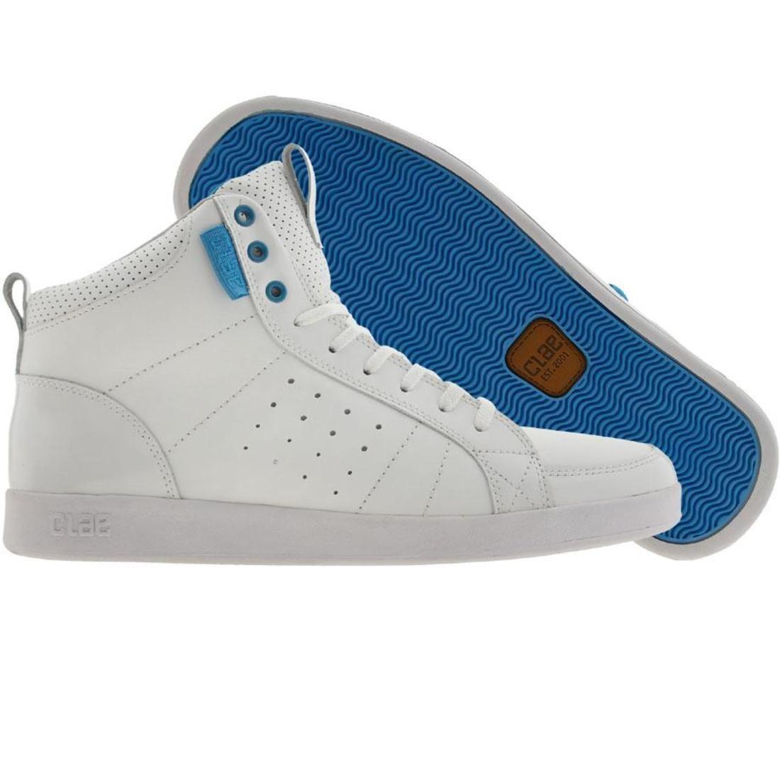 【海外限定】ラッセル 白 ホワイト パテント スニーカー メンズ靴 【 WHITE CLAE RUSSELL PATENT BLUE 】