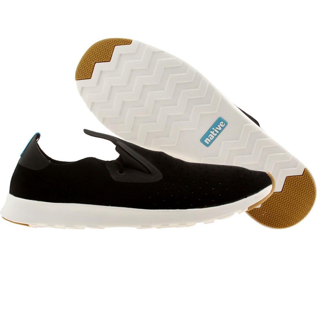 【海外限定】ネイティブ 黒 ブラック シェル 靴 メンズ靴 【 BLACK SHELL NATIVE MEN APOLLO MOC JIFFY WHITE 】