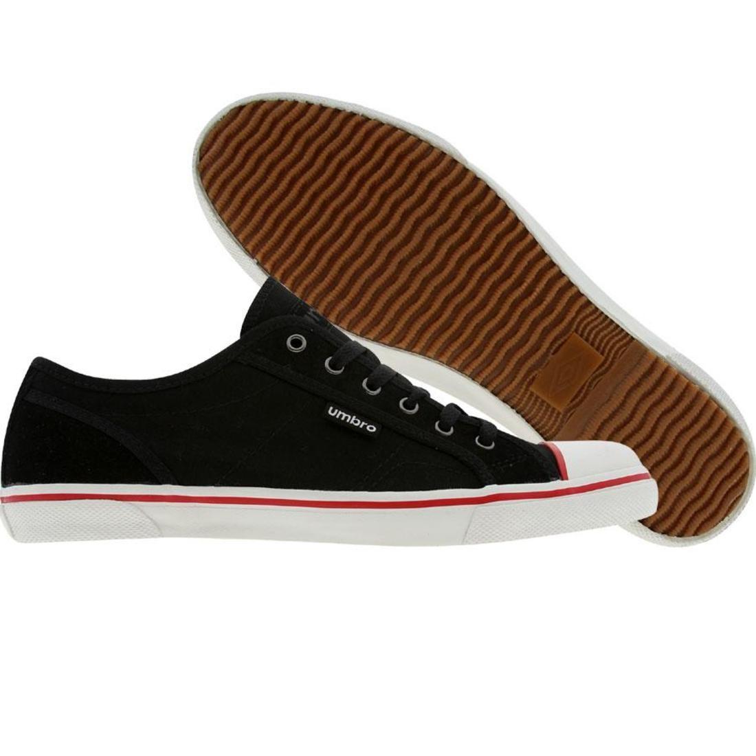 【海外限定】白 ホワイト スニーカー メンズ靴 【 WHITE UMBRO RIDER CANVAS A BLACK RED 】
