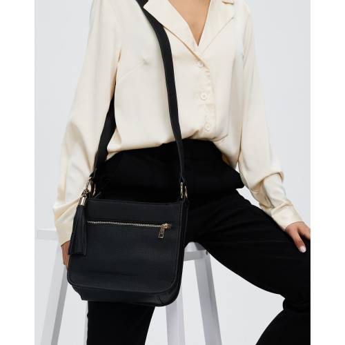 ファッションブランド カジュアル ファッション アクセサリー 流行 バッグ 通信販売 黒色 ブラック クロスボディーバッグ DOROTHY PERKINS FRONT ZIP レディース TASSEL BLACK