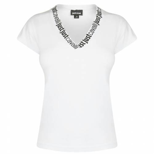 ファッションブランド カジュアル ファッション JUST CAVALLI 白色 ホワイト V T 予約 レディースファッション NECK トップス 国内正規品 100 SHIRT WHITE