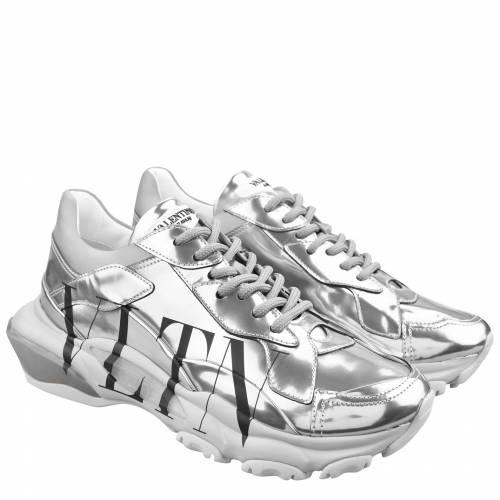 新作アイテム毎日更新 ファッションブランド カジュアル ファッション スニーカー ヴァレンティノ VALENTINO バウンス TRAINERS 銀色 国内在庫 BLACKOMK VLTN SILVER BOUNCE シルバー