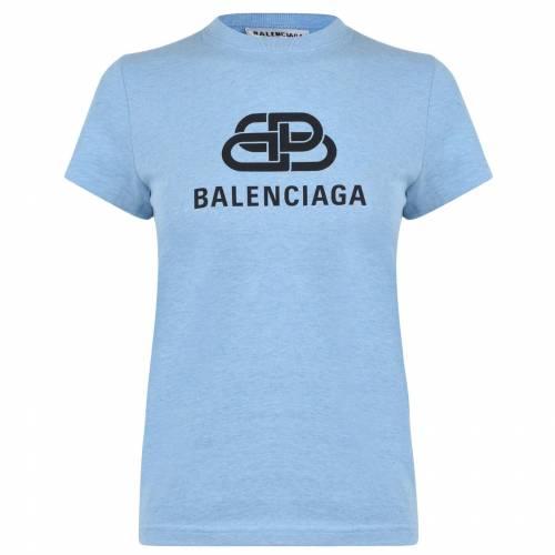 ファッションブランド 限定モデル カジュアル ファッション バレンシアガ BALENCIAGA ロゴ 青色 ブルー BLUE LOGO レディースファッション BB トップス SHIRT T 5840 返品送料無料