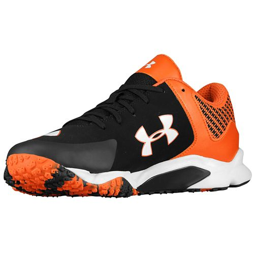 orange and black under armour shoes