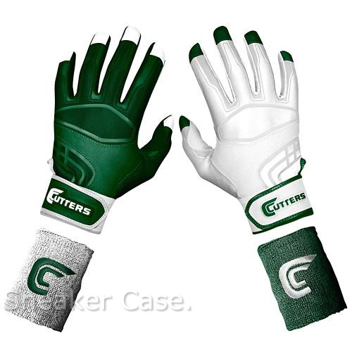 green and white batting gloves