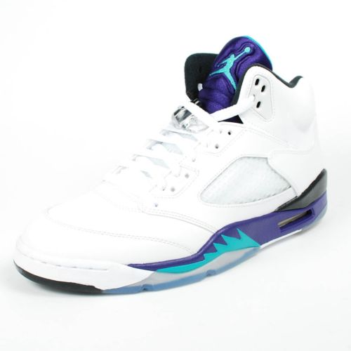 Air Jordan(エア ジョーダン) RETRO 5 V (136027-108)【海外取寄せ☆レア商品】White/New Emerald-Grape Ice メンズ・男性用