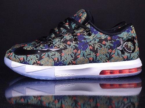 Nike Nike kd vi ext qs extension quick strike kevin durant Kevin Durant flower floral floral /blk Black Black /wht white white Nike 652120 900 Nike