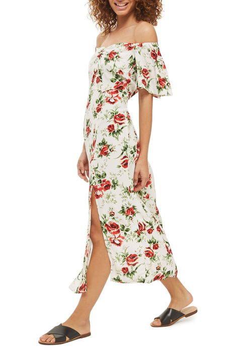 bardot rose print midi dress バルドー ローズ プリント ミディ ドレス ワンピース レディースファッション