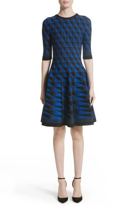 graphic compact knit fit flare dress グラフィック コンパクト ニット フィット & フレアー ドレス ワンピース レディースファッション