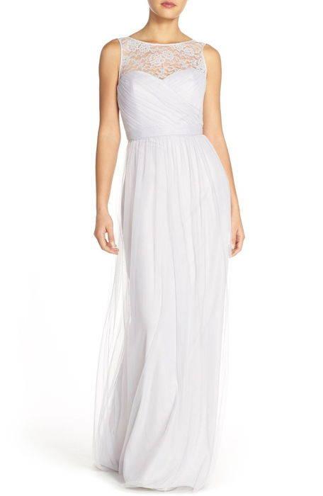 chandra illusion yoke lace tulle gown '' イリュージョン ヨーク レース & チュール ガウン ドレス レディースファッション